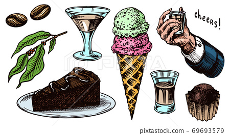 Liqueur dessert. Hand with a glass shot. Cheers toast. Ice cream and cake, glass with alcoholic 69693579