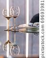 Empty glasses set in a modern restaurant 69693981