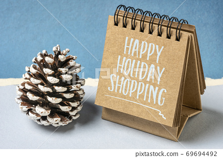 happy holiday shopping - spiral notebook sign 69694492