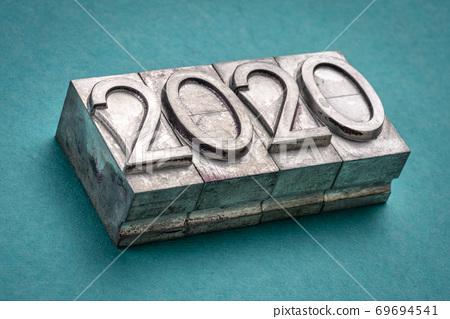 2020 year in vintage, gritty letterpress metal type 69694541