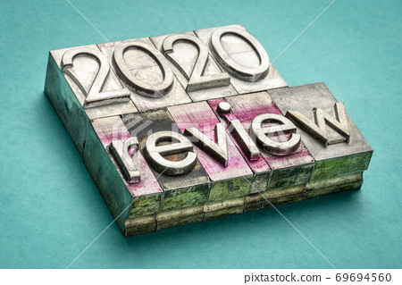 2020 year review word abstract in metal type 69694560