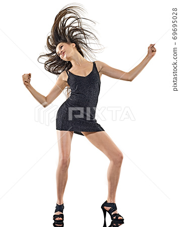 young woman disco dancer dancing isolated white background happy fun 69695028