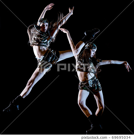 young woman modern dancer dancing isolated black background light painting 69695034