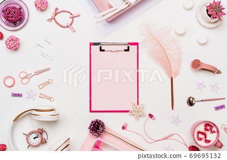 Woman office desk mockup with clipboard flat lay 69695132