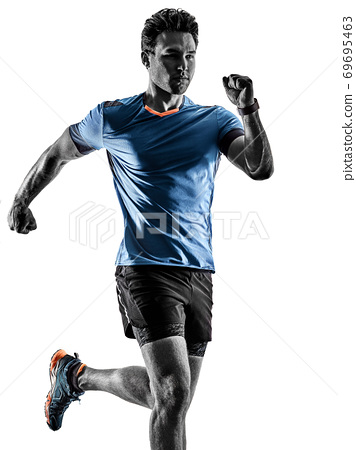 runner running jogger jogger young man isolated white background 69695463