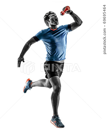 runner running jogger jogger young man isolated white background 69695464