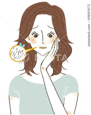 얼굴의 낭비 머리로 고민하는 여성 69695672
