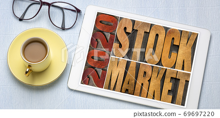 2020 stock market word abstract in wood type 69697220