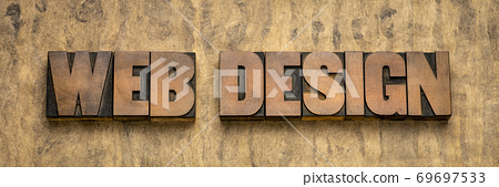 web design word abstract in wood type 69697533