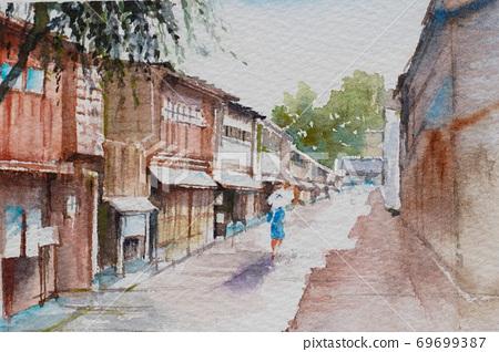 金澤東茶屋街水彩山水畫 69699387