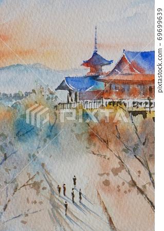 京都清水寺水彩山水畫 69699639
