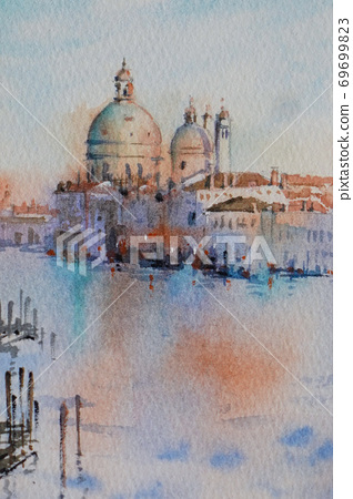 歐洲城市威尼斯的水彩山水畫 69699823