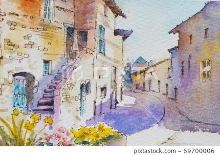 유럽 작은 마을 수채화 풍경화 69700006