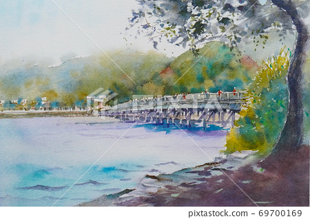 Kyoto Togetsukyo watercolor landscape painting 69700169