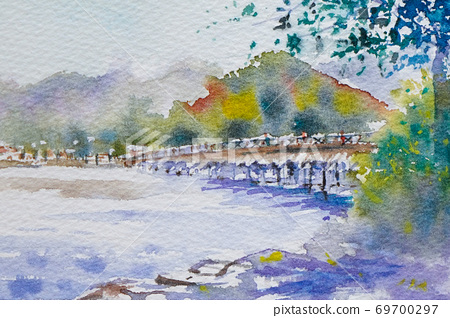 Kyoto Togetsukyo watercolor landscape painting 69700297