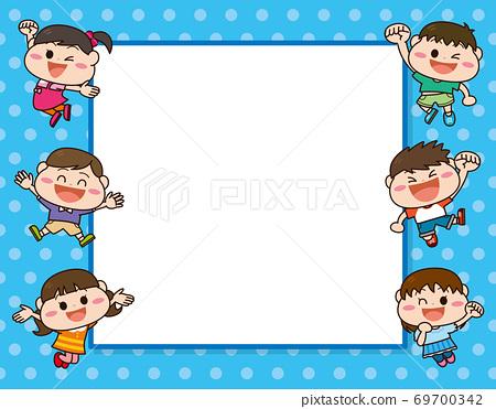 아이들 사각형 프레임 블루 69700342
