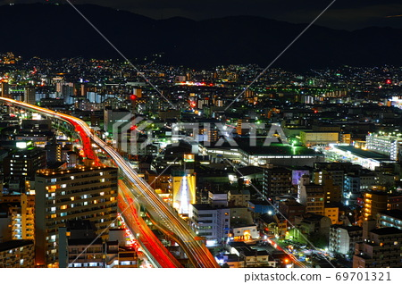 Night view overlooking Higashi Osaka 69701321