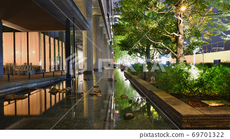 City night perspective waterside night view 69701322