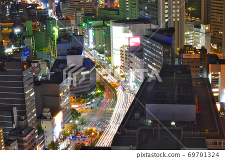 Night view from Osaka Station 3 Building. 69701324