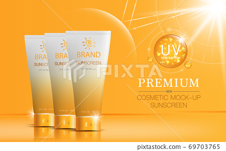 Hydrating facial sunscreen for annual sale or festival sale. orange and gold sunscreen mask bottle isolated on glitter particles background. Graceful cosmetic ads, illustration. 69703765