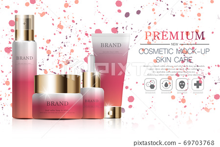 Hydrating facial sunscreen for annual sale or festival sale. orange and gold sunscreen mask bottle isolated on glitter particles background. Graceful cosmetic ads, illustration. 69703768