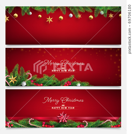 red  Christmas banner with golden ornament and branch's fir in 3 row templates 69706180