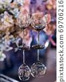 Empty glasses set in a modern restaurant 69706216