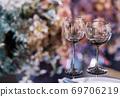 Empty glasses set in a modern restaurant 69706219