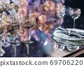 Empty glasses set in a modern restaurant 69706220