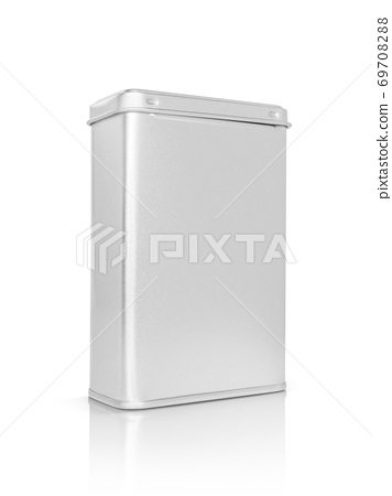 silver metallic box for premium product design mock-up isolated on white background 69708288
