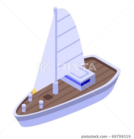 Sea ship icon, isometric style 69709319