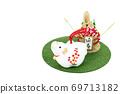 흰 소와 소나무 장식 69713182