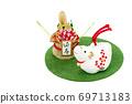 흰 소와 소나무 장식 69713183