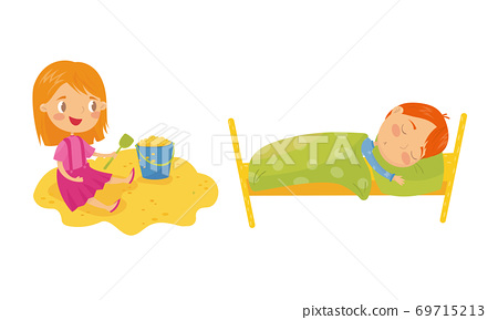 Little Boy Sleeping in Bed and Girl Playing in Sandbox Vector Set 69715213
