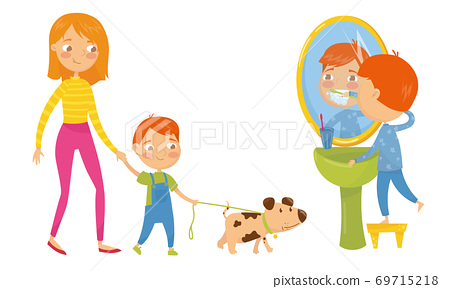Little Boy Walking the Dog with Mom and Brushing His Teeth Vector Set 69715218