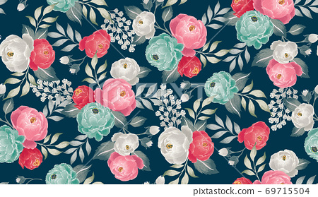 Vector illustration of seamless floral pattern in spring 69715504