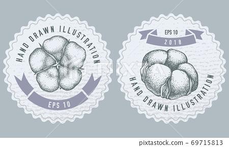 Monochrome labels design with illustration of cotton 69715813
