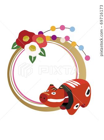 新年插畫素材-醜-十二生肖戒指裝飾 69716173