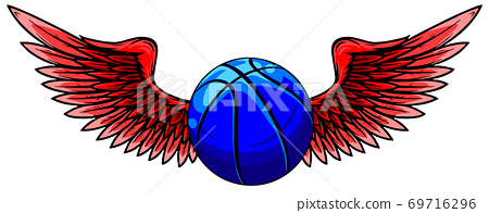 Basketball sport emblem with wings. vector illustration 69716296