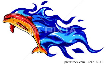 Flaming dolphin vector illustration design art graphic 69716316