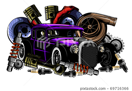 Vector illustration of Car Spares Frame and parts 69716366