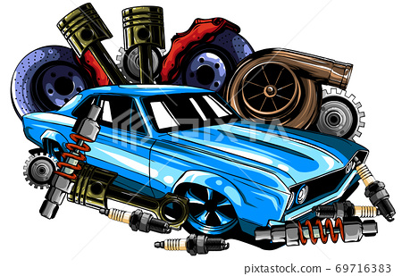 Vector illustration of Car Spares Frame and parts 69716383