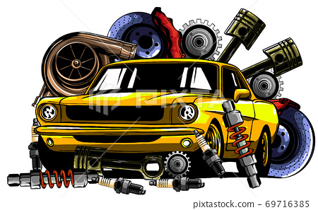 Vector illustration of Car Spares Frame and parts 69716385