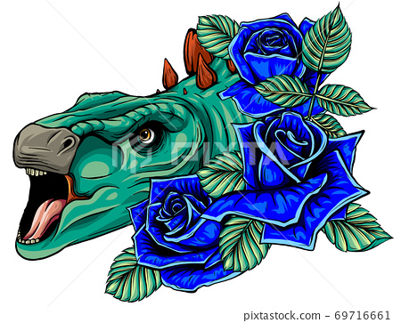 dinosaur and roses frame. vector design. Concept art drawing. 69716661