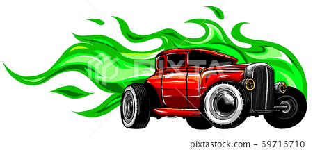 vector illustration muscle car with flames Crazy race 69716710
