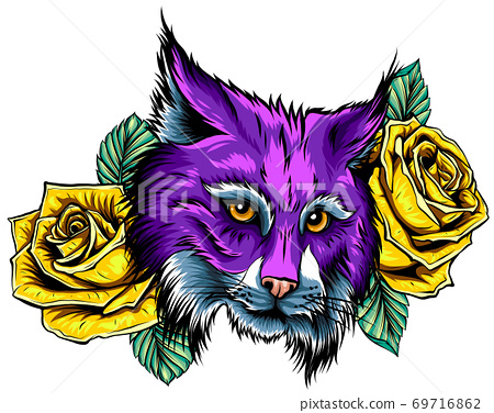 hand drawn ink doodle cat and flowers on white background. 69716862