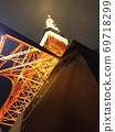 從正下方看的東京鐵塔夜景版 69718299