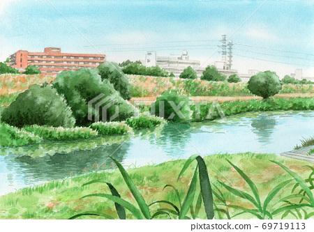 수채화로 그린 강 유역의 풍경 69719113