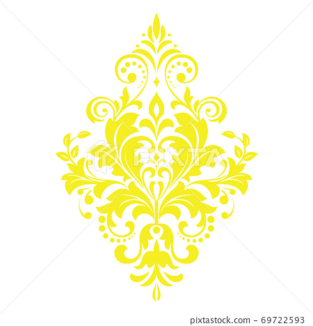 Damask graphic ornament. Floral design element. Yellow  69722593