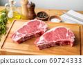 raw steak meat on cutting board in bright kitchen 69724333